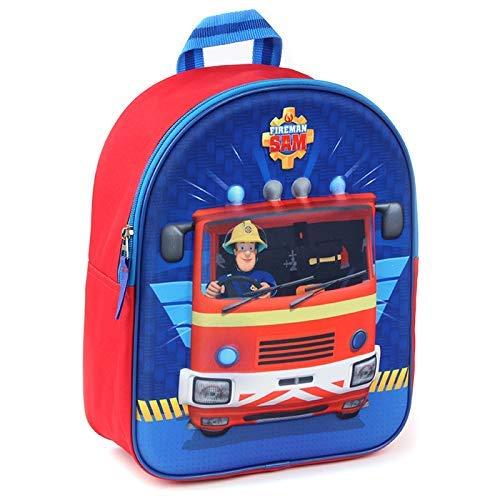 Feuerwehrmann Sam 3D Kinder Rucksack - Feuerwehrwagen - Rot und Blau