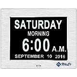 Digitaler Kalender Tag Uhr mit Nicht Abkürzungen Tag & Monat - Aufgerüstet - 8 Zoll XULI® Digital Kalender - (Silber)