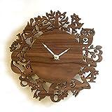 WYN123 Horloge Murale silencieuse créative Horloge à Quartz Horloge Murale décoration horloges Journal forêt Oiseaux Cadeau Horloge réveil Horloge nouveauté, 1