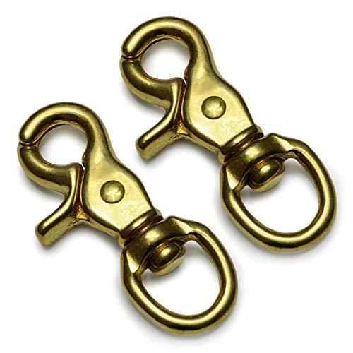 Ganzoo Scheren-Karabiner Haken mit Dreh-Gelenk/Dreh-Kopf für Hunde-Leine/Hals-Band im 2er-Set, legierter Stahl, 73mm Länge, auch für Paracord 550 / Schlüssel-Anhänger, Farbe: vermessingt (Gold-Optik)