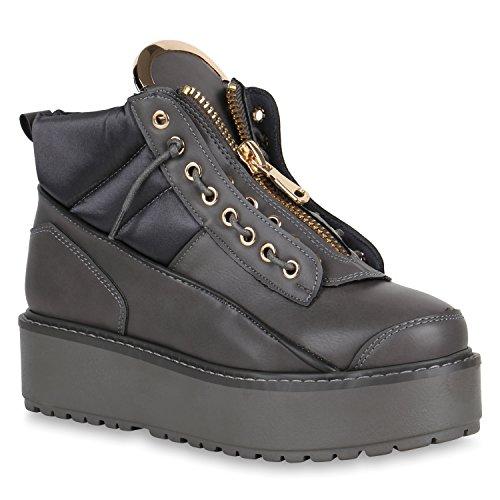 Stiefelparadies Damen Plateau Stiefeletten Kurzschaft-Stiefel Leder-Optik Schuhe Karneval Fasching Kostüm 90er Punk Rocker Military Boots Flandell Grau Zipper