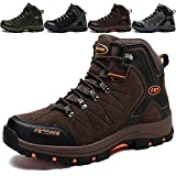 KAMIXIN Scarpe da Escursionismo Uomo Donna Stivali da Escursionismo Alti Scarpe da Arrampicata Scarpe da Trekking All'aperto Sneakers Calzature da Escursionismo Marrone EU43