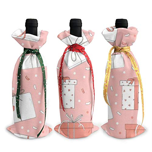 Perfecto regalo de Navidad para un amante del vino. Ideal para la decoración de botellas de vino de Navidad. Además de los cordones de seda, puede ayudar a sellar la bolsa. Es una buena opción reemplazar las etiquetas de vino aburridas y las etiqueta...