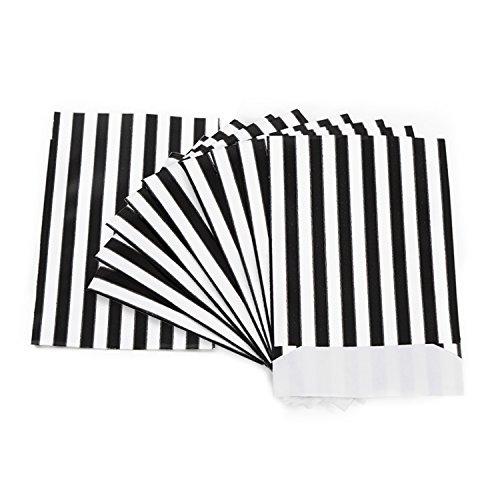 25 Stück schwarz weiß gestreift Papiertüten 13 x 18 cm Verpackung Kleinteile Schmuck Geschenkverpackung Weihnachten Geschenk-Beutel Geschenk-Papier Flachbeutel Papierbeutel