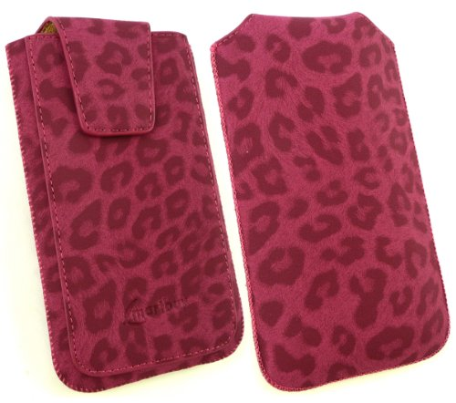 Emartbuy® Klassischer Serie Faux Wildleder Leopard Rosa Slide in Pouch Case Cover Sleeve Holder ( Größe 3XL ) With Magnetic Flap & Pull Tab Mechanism Suitable For Blackview JK450 4.5 Inch Smartphone Rosa Gefälschte Schweden Klassischer Serie