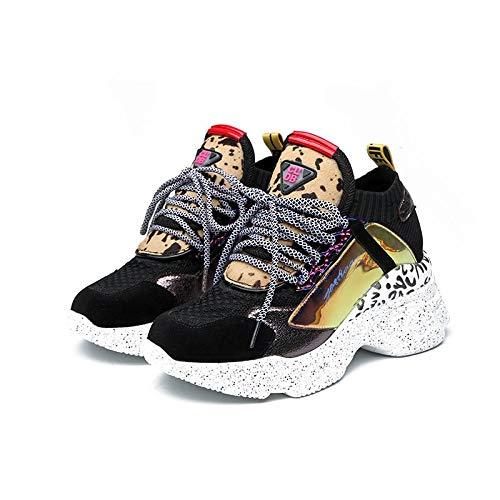 MENGLTX High Heels Sandalen Drop Ship Frauen Sneakers Lace Up Runde Kappe Frühling Sommer Plattform Turnschuhe Damen Mode Freizeitschuhe Weibliche Größe 42 10 Gun Farbe