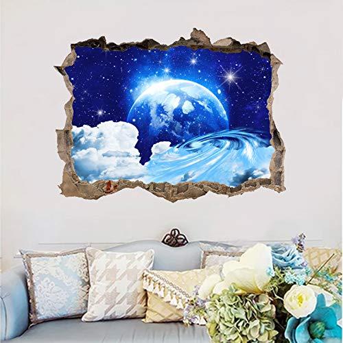 Kleine Fenster Aufkleber Universum Planeten blau Sternenhimmel Hintergrund 3D gebrochen Wand gefälschte Fenster Aufkleber 45 * 60cm B 45 * 60cm