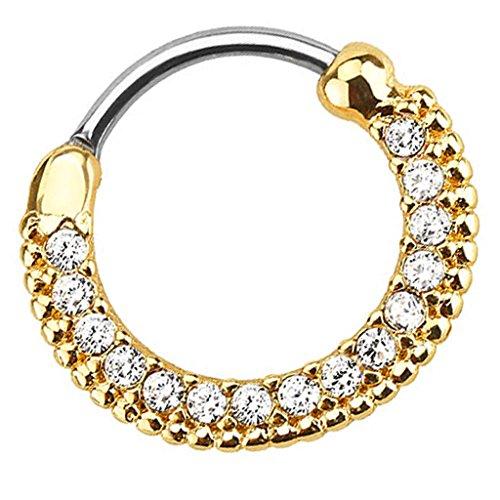 Piersando Piercing Scharnier Clicker Ring Schild Tribal mit Kristall Strass Steinen Vintage Septum für Tragus Helix Ohr Nase Lippe Brust Intim Gold Clear 1,6mm