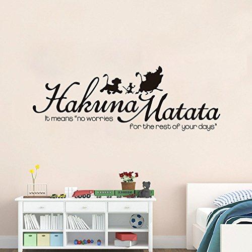 wandaufkleber baum weiss Hakuna Matata Keine Sorge für Wohnzimmer Kinderzimmer Schlafzimmer