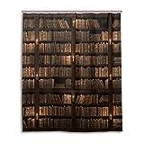 mydaily Vintage Bibliothek Bücherregal Vorhang für die Dusche 152,4x 182,9cm, schimmelresistent & Wasserdicht Polyester Dekoration Badezimmer Vorhang