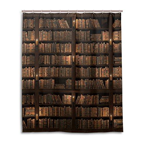 mydaily Vintage Bibliothek Bücherregal Vorhang für die Dusche 152,4x 182,9cm, schimmelresistent & Wasserdicht Polyester Dekoration Badezimmer Vorhang -