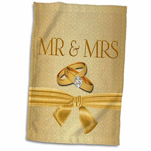 3dRose Frau in Gold Damast mit Hochzeit Ringe und Schleife Handtuch, Mehrfarbig, 15x 22 -