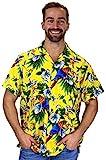 V.H.O. Funky Hawaiihemd, Kurzarm, Kirsch Papagei, gelb, XXL