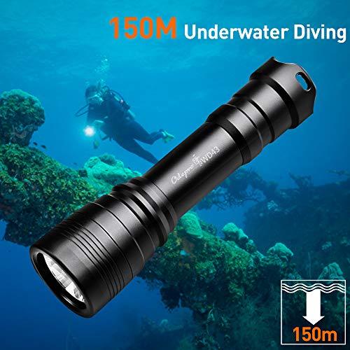 Odepro WD43 1050 Lumen Wieder Aufladbare Tauchlampen mit Magnetschalter und bis zu 150m Tiefe Wasserdichte