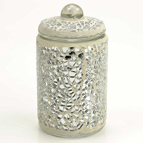 Angraves Small Silver Sparkle Mosaic Glass Storage Jar With Lid Jewelry Holder Pot
