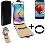 K-S-Trade® TOP Set Für Vestel V3 5030 360° Flipstyle Schutz Hülle Smartphone Tasche Schwarz + TPU Bumper, Case Hülle Flip Cover Für Vestel V3 5030