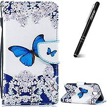 Slynmax - Funda de piel con tapa y función atril para Samsung S6 (incluye lápiz capacitivo), Mariposa azul.