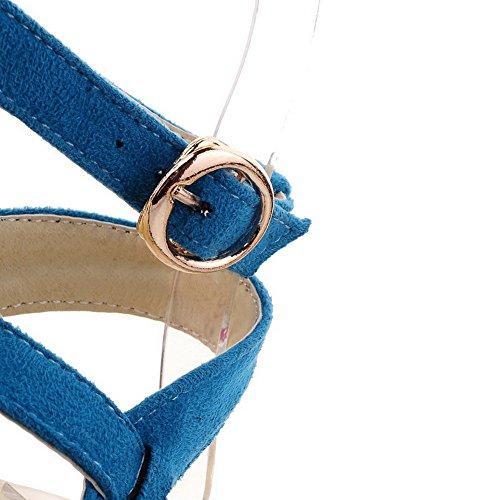 AalarDom femme Divisé à Talon Bas Dépolissement Couleur Unie Boucle Sandales Bleu