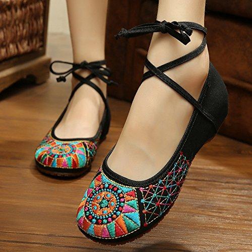 ZQ Gestickte Schuhe, Sehnensohle, ethnischer Stil, Femaleshoes, Mode, bequeme Sandalen Black