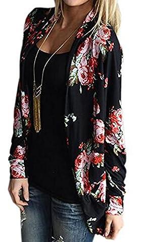 KaKing Womens Boho Irregular Long Sleeve Wrap Kimono Cardigans Casual Coverup Coat Tops Outwear (Medium,