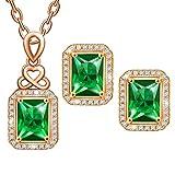 MARENJA-Regalo San Valentín Juego de Joyas Mujer de Moda-Collar Colgante Vintage de Cristal Verde y Pendientes-Joya Chapada en Oro Blanco con Cristal