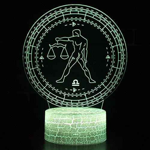 3D Optische Illusion LED Nachtlicht Lampe Täuschung 12 Konstellationsserie Waage 7 Farbwech ändern Berühren Sie Botton Farben Touch Tischleuchte Schlafzimmer lampe für Kinder Weihnachts geschenk