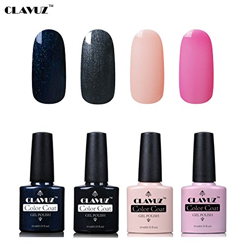 Set de Vernis à Ongles Semi-Permanent UV LED Soakoff 4pcs Kit Manucure 10ml de Clavuz-KIT 012