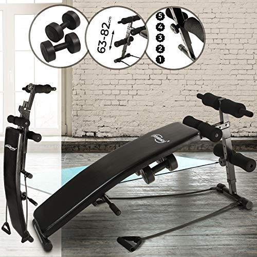 Physionics Bauchtrainer Rückentrainer multifunktionales Fitnessgerät Fitness Training Sit Up Bauchtrainer mit 2 Hanteln und Seilen belastbar bis 100 kg