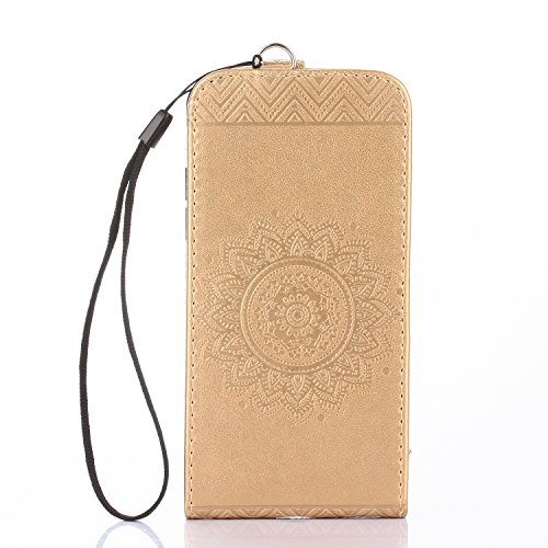 iPhone 6S Custodia Flip,iPhone 6S Custodia in Pelle,Slynmax Stampato Copertura di Ccuoio Folio Cover in PU Dipinto Sintetica Ecopelle Guscio Wallet Case per Apple iPhone 6/6S 4.7 Protezione Caso Ultr Oro