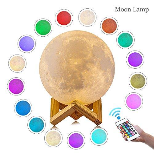 Luna lampada da notte, aled light luce lunare in stampa 3d con diametro di 15cm e 16-colori, decoro per la stanza da letto, ricarica con attacco usb, illuminazione d'atmosfera per la stanza da letto, bar e sala da pranzo.