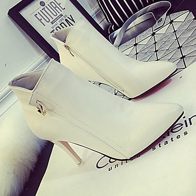 Moda Donna Sandali Sexy donna tacchi Primavera / Autunno / Inverno Platform cuoio matrimonio abito / Stiletto Heel scintillanti Glitter Zipper / nero / rosso / bianco altri White