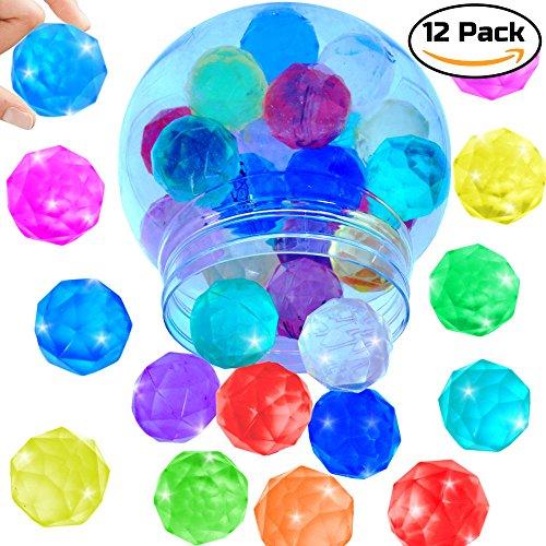 German Trendseller® - 12 x Große Magische - Diamanten Flummis ┃ NEU ┃ Springbälle ┃ Mitgebsel ┃ Kindergeburtstag ┃ Extra Weich - für Super Sprung - Kraft ┃ 12 Stück - Wasser-bad-kristalle