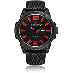 NAVIFORCE Men Sports Watches Men's Quartz Hour Date Clock Man Nylon Strap Military Army Waterproof Wrist Watch (Red)