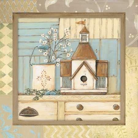 Feelingathome.it, STAMPA SU TELA 100% cotone INTELAIATA Birdhouse II cm 61x61 (dimensioni personalizzabili a