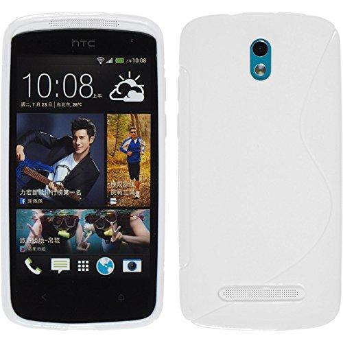 PhoneNatic Case für HTC Desire 500 Hülle Silikon weiß S-Style Cover Desire 500 Tasche + 2 Schutzfolien