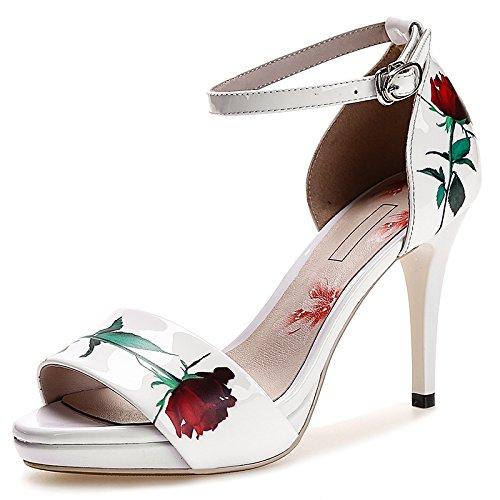 Temperament Roses Dew Gürtelschnalle High-Heels Schuhe Fine Heel Blumen Sandalen Frauen White
