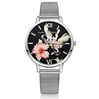 Lvpai Flower Print Round Dial Alloy Band Quartz Wrist Watch for Women -Silver