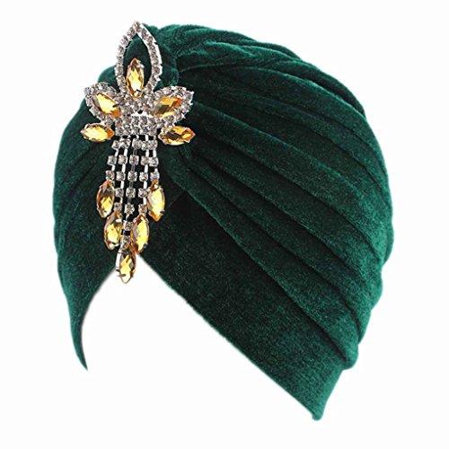 Abdeckung Hut, Mütze, (Bobury Frauen Lady Chemo Samt Turban Mütze Hut Strass Anhänger Kopf Abdeckung Kappe)