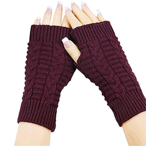 Kolylong Girl style Fashion Knitted Arm Fingerless Winter Gloves Soft Warm Mitten (Wine Red)