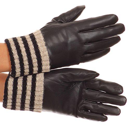 Sakkas CMZ1523 - Oda Warm Gestreifte Wolle Manschette Winter Touchscreen Handgelenk Länge Handschuhe - Schwarz - M