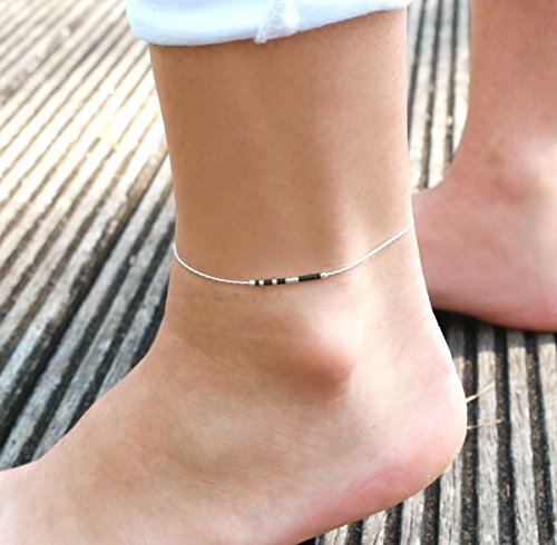 Bracelet de cheville ultra fin - chaine serpent argent massif 925 - perles miyuki noires - noir et argenté -...