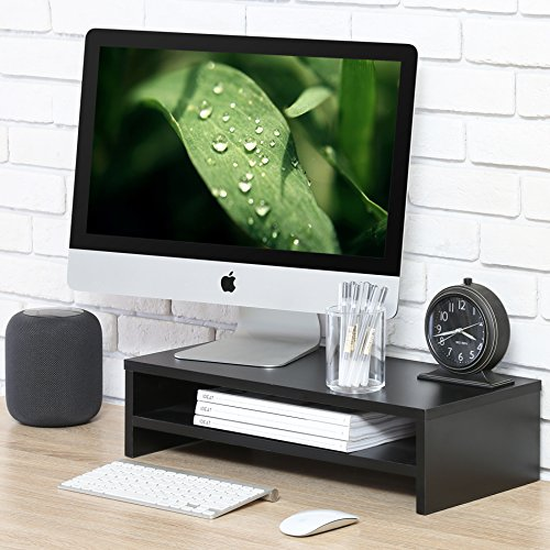 Fitueyes Wood Monitor Stand Screen Riser with Storage Shelf for Computer TV DT205401WB