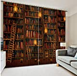 Ten-tailed fox Benutzerdefinierte Vorhänge 3D des Bücherregals 3D Blackout Vorhänge Wohnzimmer Moderne Vorhänge Fenster Decora Küche Café Drapes Cortina H240 * W280 cm