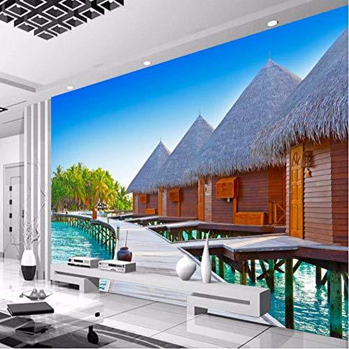 Benutzerdefinierte jeder größe 3D Tapete Holz Strand Hütten Wohnzimmer Sofa Schlafzimmer TV Hintergrund Wandbild Gemälde Tapete Wohnkultur