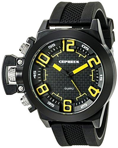 CEPHEUS Herren-Armbanduhr XL Analog Quarz Silikon CP901-622C