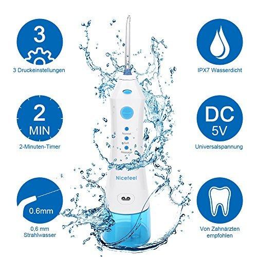 COOLYOO Nicefeel Munddusche Zahnpflege Zahnreiniger Dental Water Jet Dental Dusche Oral Waterflosser von Travel Weiß und Blau