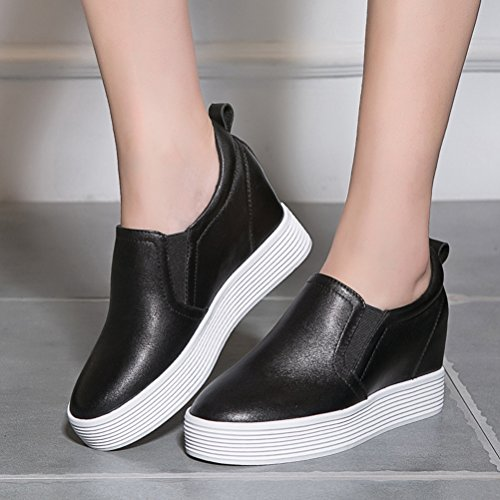 Damen Flache Plateau Aufzug Runde Zehen Slip On Einfache Outdoor Lässige Modische Sneakers Schwarz