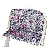 Babys-Dreams Sitzkissen Auflage Sitzkissenset für Stokke Tripp Trapp Hochstuhl (Grau Rosa/Pinke Dicke Eulen§2)