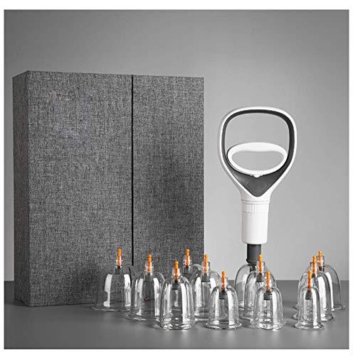 Kqlx Vakuum-Schröpfen, Saugnapf-Akupunktur-Therapie-Kit, haltbarer, neu entwickelter Pumpgriff und Verlängerungsrohr, Massage-Schröpfen-Therapie-Set -