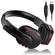 USB  Auriculares PS3 con Micrófono, Compacto Over-ear Cascos Headset Auricular Gamer Juegos con Micrófono para PC Computadoras Ordenador PlayStation 3